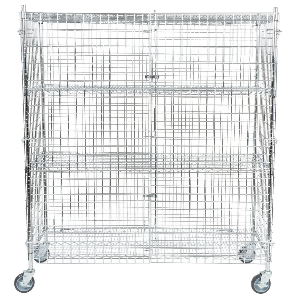 Regency NSF Mobile Chrome Wire Security Cage Kit - 24 inch x 60 inch x 69 inch