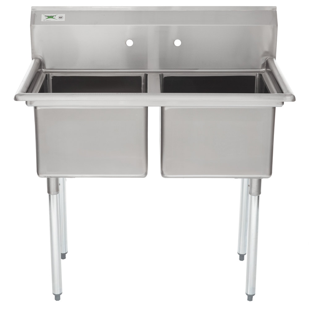 Regency 41 Inch 16 Gauge Stainless Steel Two Compartment Commercial Sink  Without Drainboards   17