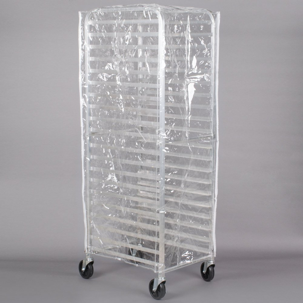 Regency 63 inch Clear 8 Mil Full-Size Plastic Bun Pan Rack Cover with 3 Zippers