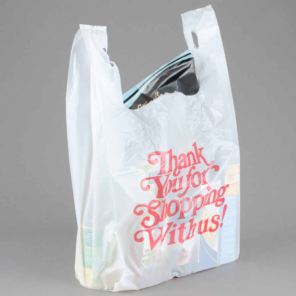 1 6 size 71 mil white thank you heavy duty plastic t for Jumbo t shirt bags