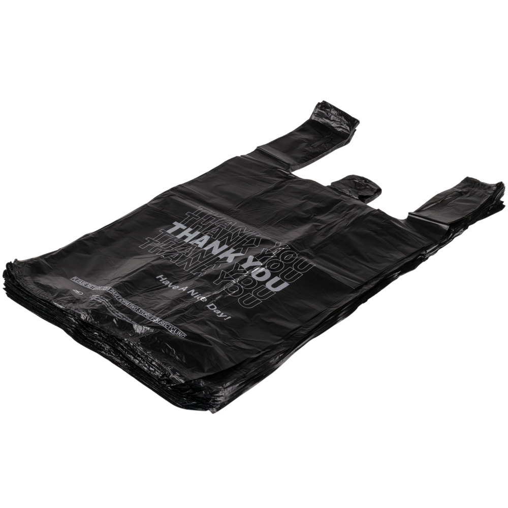 1 6 size 51 mil black thank you plastic t shirt bag 800 for Plastic t shirt bag