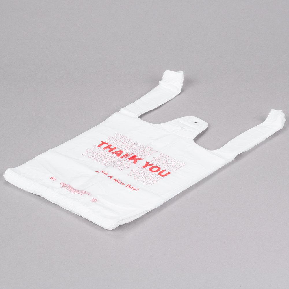 1 12 Size 51 Mil White Thank You Plastic T Shirt Bag