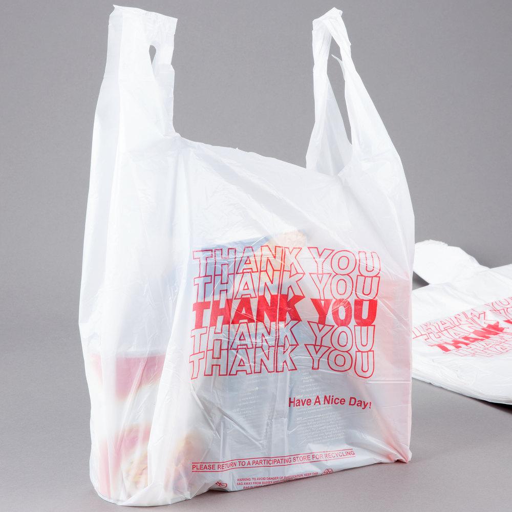 1 6 size 59 mil white thank you plastic t shirt bag for Plastic t shirt bag