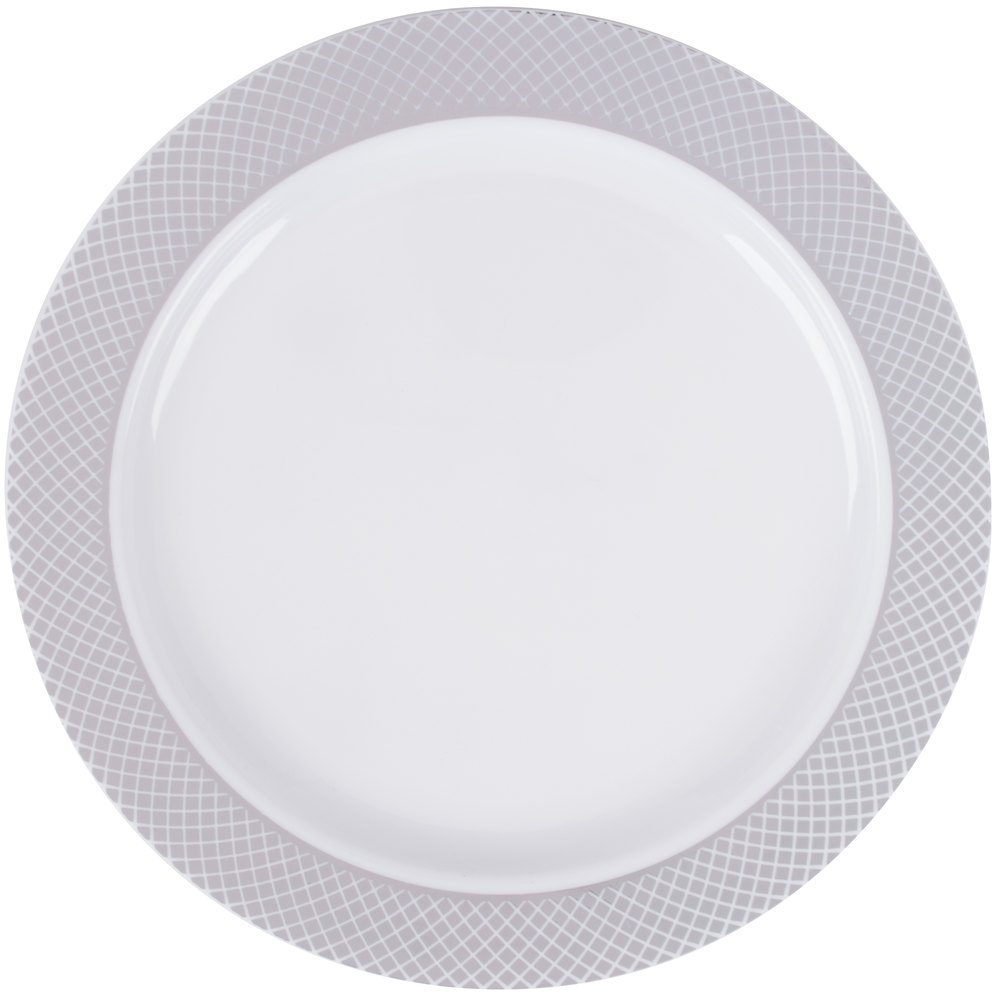Silver Visions 6 inch White Plastic Plate with Silver Lattice Design - 150/Case ...  sc 1 st  WebstaurantStore & Plastic Wedding Plates | Elegant Disposable Plates