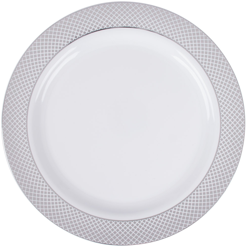 Silver Visions 10 inch White Plastic Plate with Silver Lattice Design - 120/Case ...  sc 1 st  WebstaurantStore & Disposable Plastic Plates | Plastic Disposable Plates
