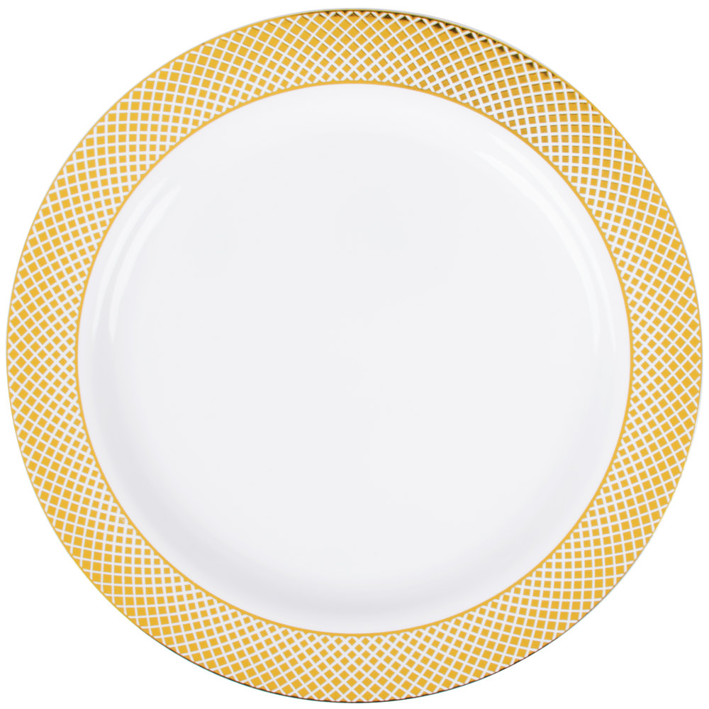 Silver Visions 10 Inch White Plastic Plate With Gold Lattice Design    12/Pack ...