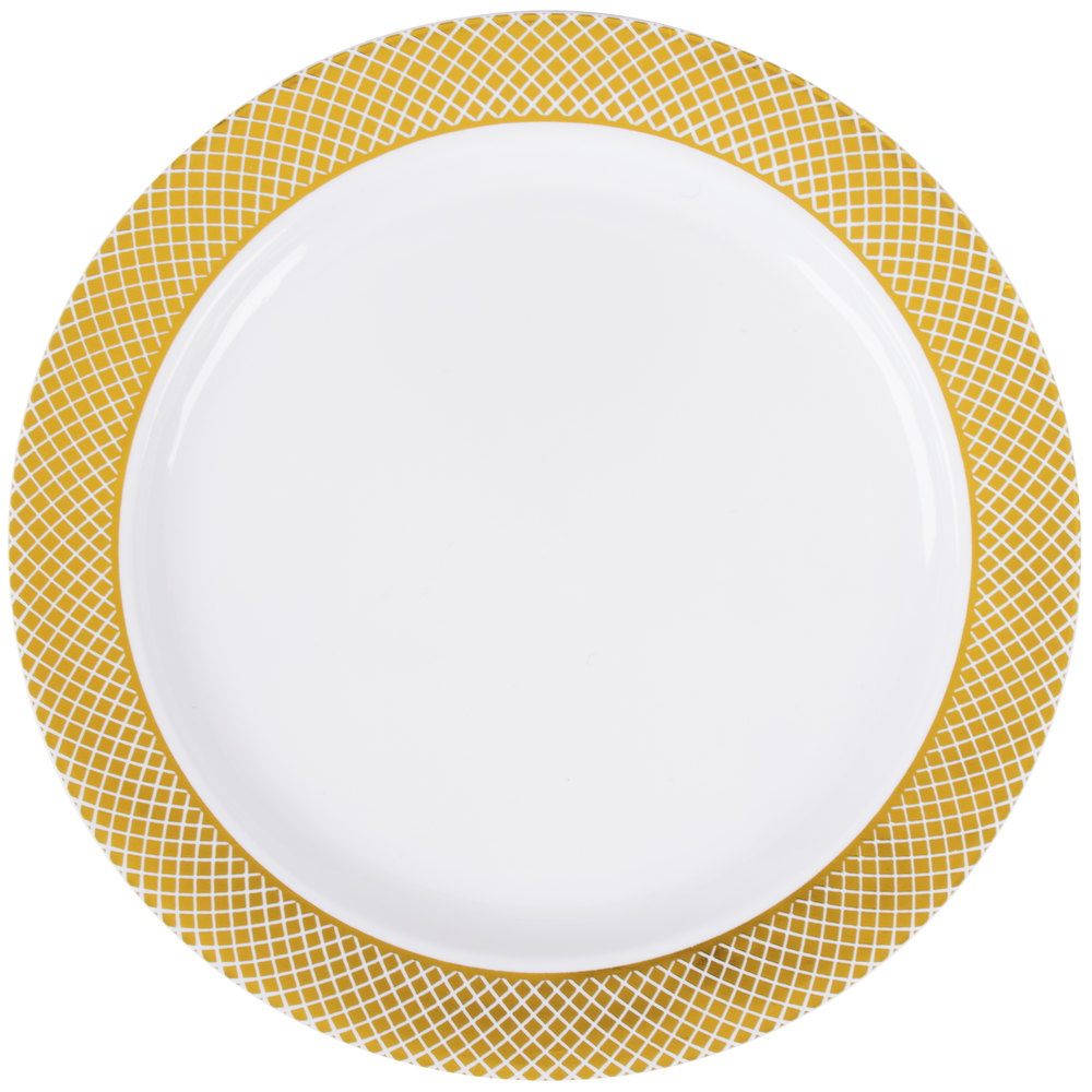 Silver Visions 6 inch White Plastic Plate with Gold Lattice Design - 15/Pack ...  sc 1 st  WebstaurantStore & Plastic Wedding Plates | Elegant Disposable Plates