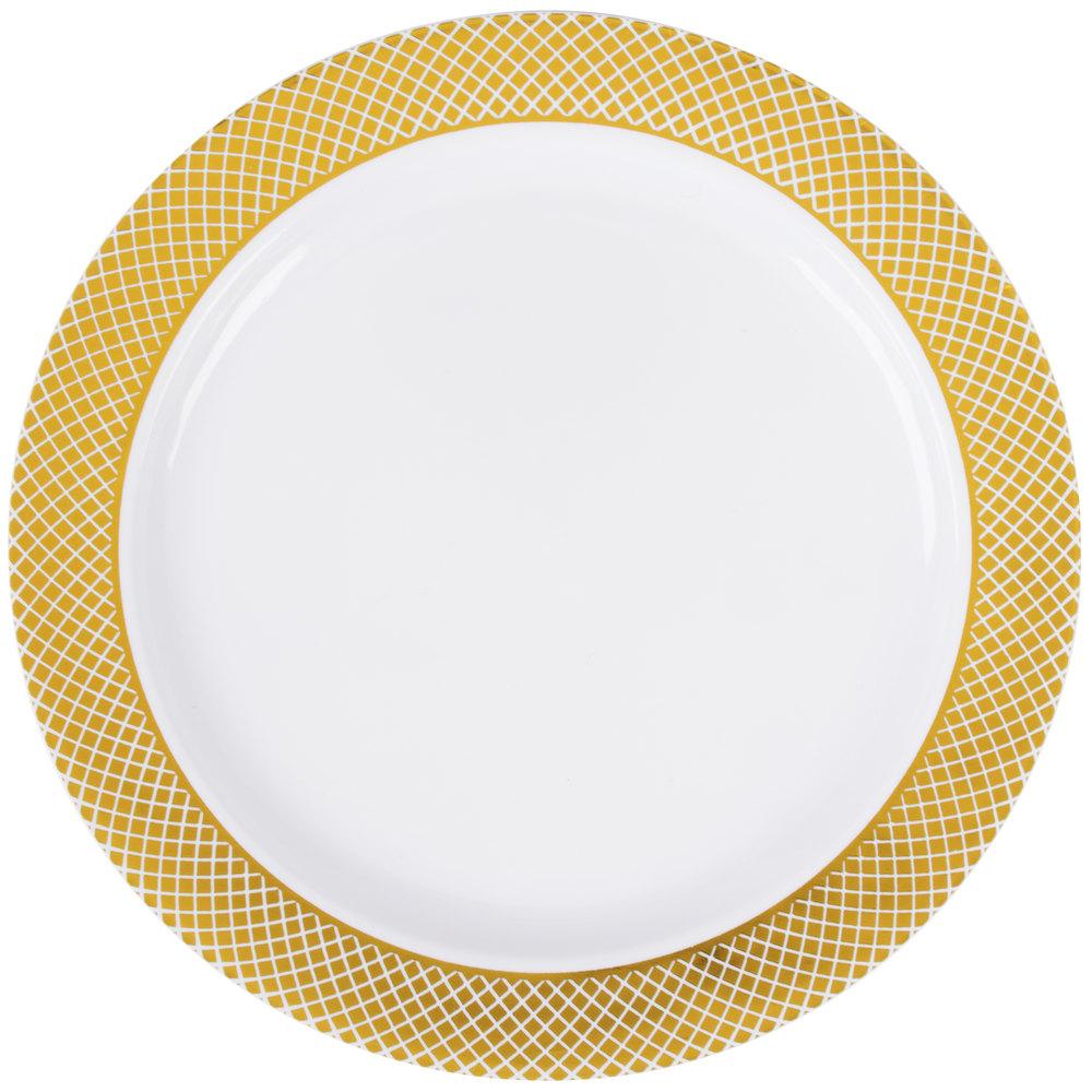 Silver Visions 6 Quot White Plastic Plate With Gold Lattice Design 150 Case