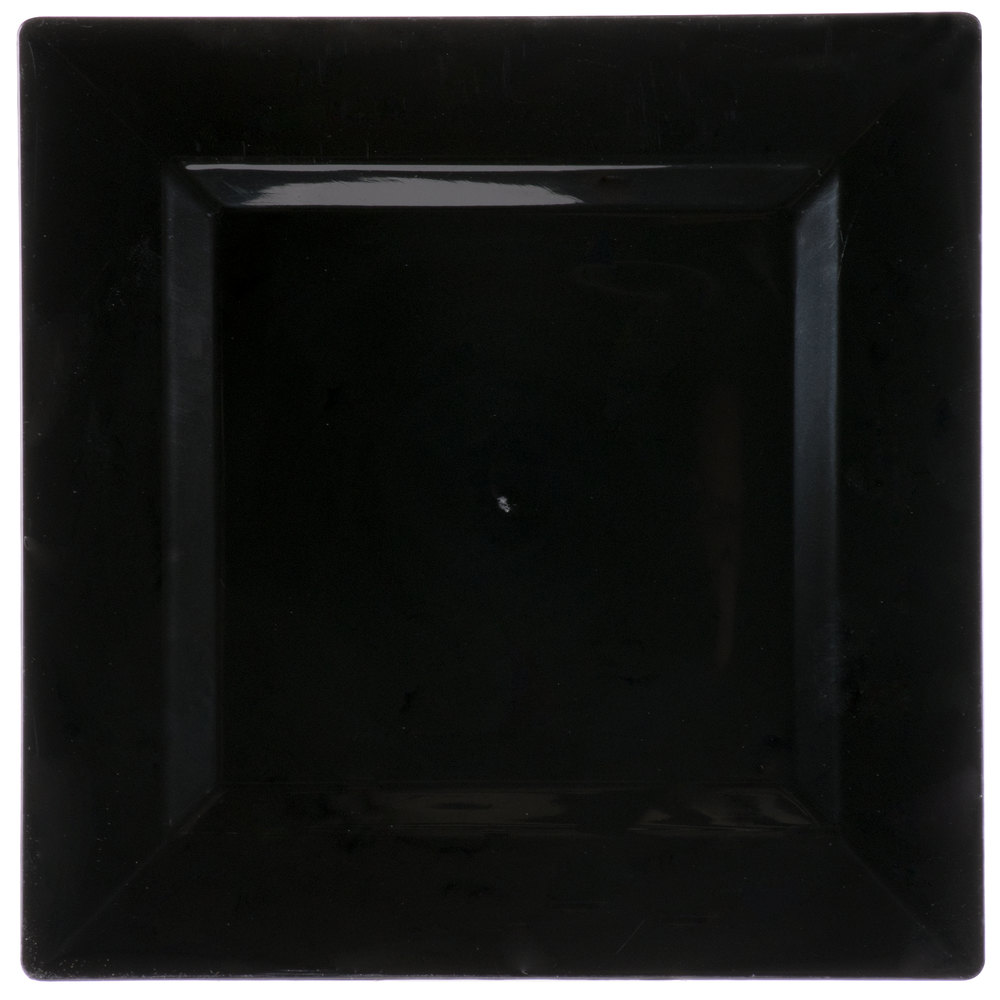 Visions Florence 10 inch Square Black Plastic Plate - 120/Case ... & Black Square Plastic Plates - WebstaurantStore