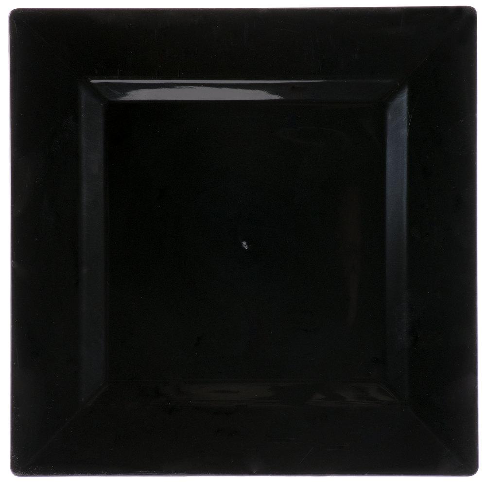 Visions Florence 10 inch Square Black Plastic Plate - 120/Case ... & 10 Inch Plastic Plates - WebstaurantStore