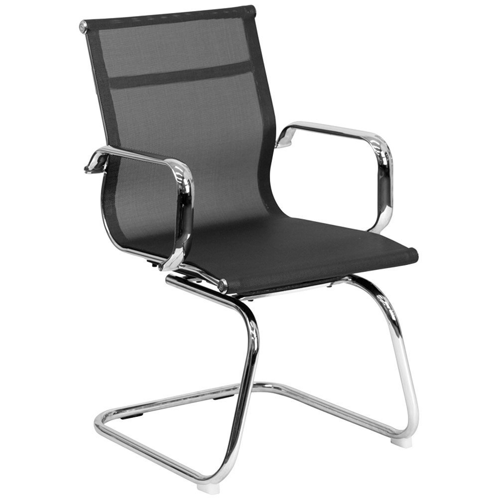 bt 2768l gg mid back black mesh side chair with chrome sled base