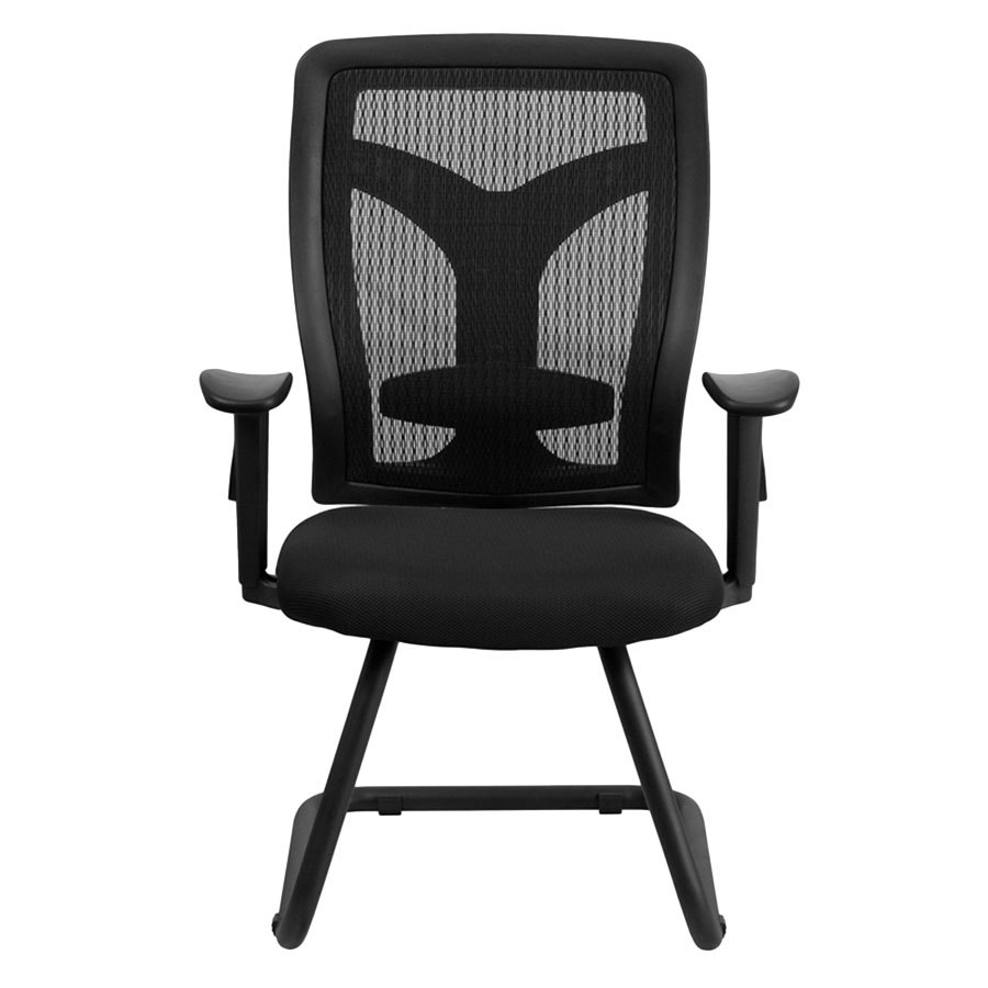 black mesh side arm chair with mesh seat and adjustable lumbar support