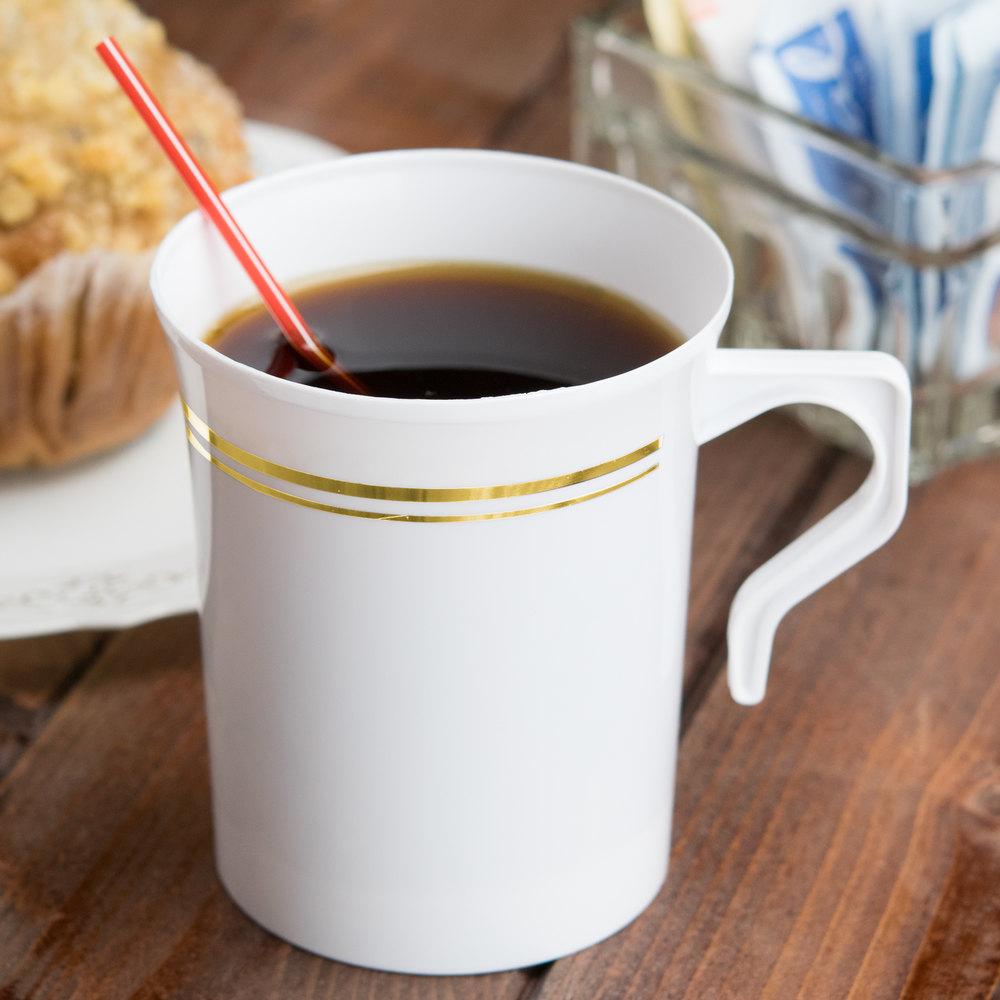 Silver Visions 8 Oz White Plastic Coffee Mug With Gold