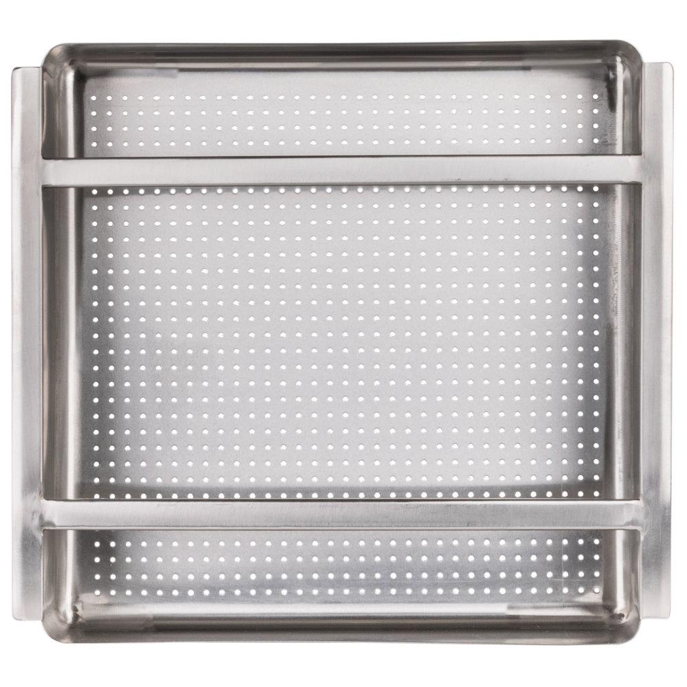 Regency 19 1/2 inch x 19 1/2 inch x 4 inch 18-Gauge Stainless Steel Scrap / Pre-Rinse Basket with Stainless Steel Slides