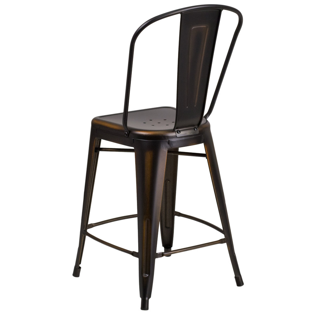 flash furniture et-3534-24-cop-gg distressed copper metal counter