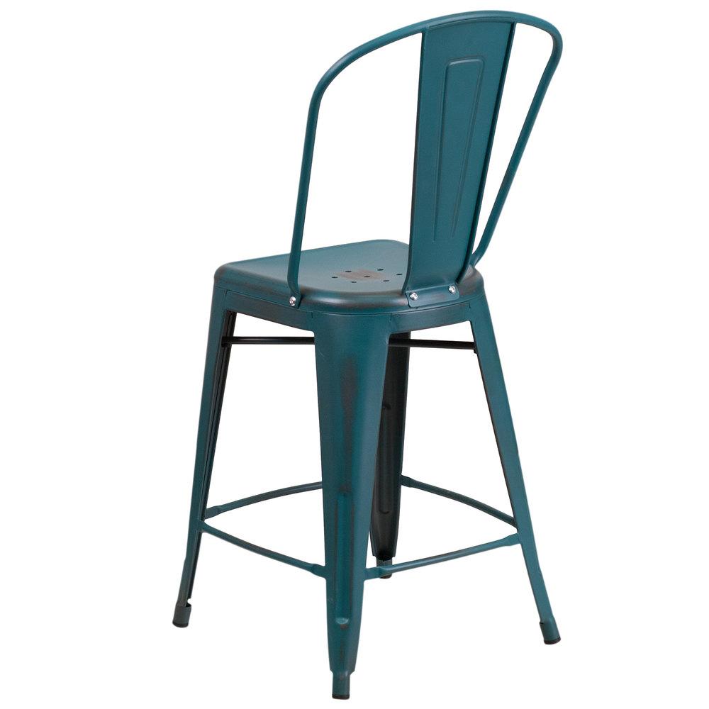 Flash Furniture Et 3534 24 Kb Gg Distressed Kelly Blue