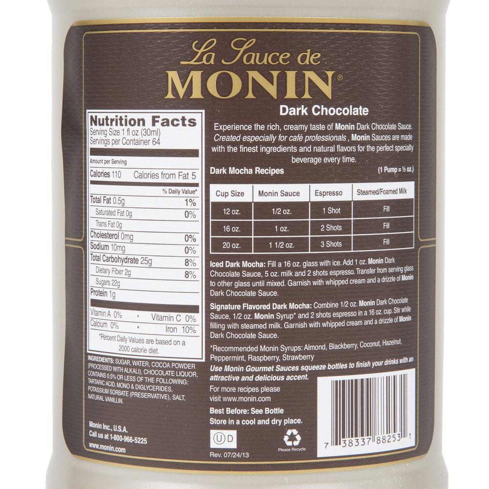Monin White Chocolate Sauce Nutrition