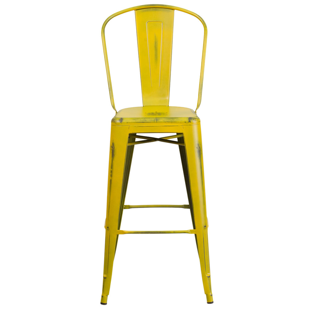... Yellow Metal Bar Height. Main Picture · Image Preview ... - Flash Furniture ET-3534-30-YL-GG Distressed Yellow Metal Bar