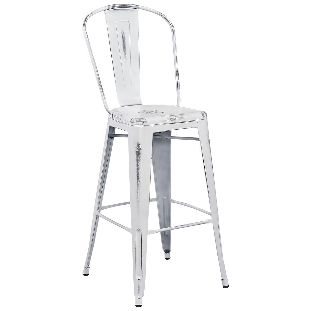 Distressed White Metal Bar Height Stool With Vertical Slat