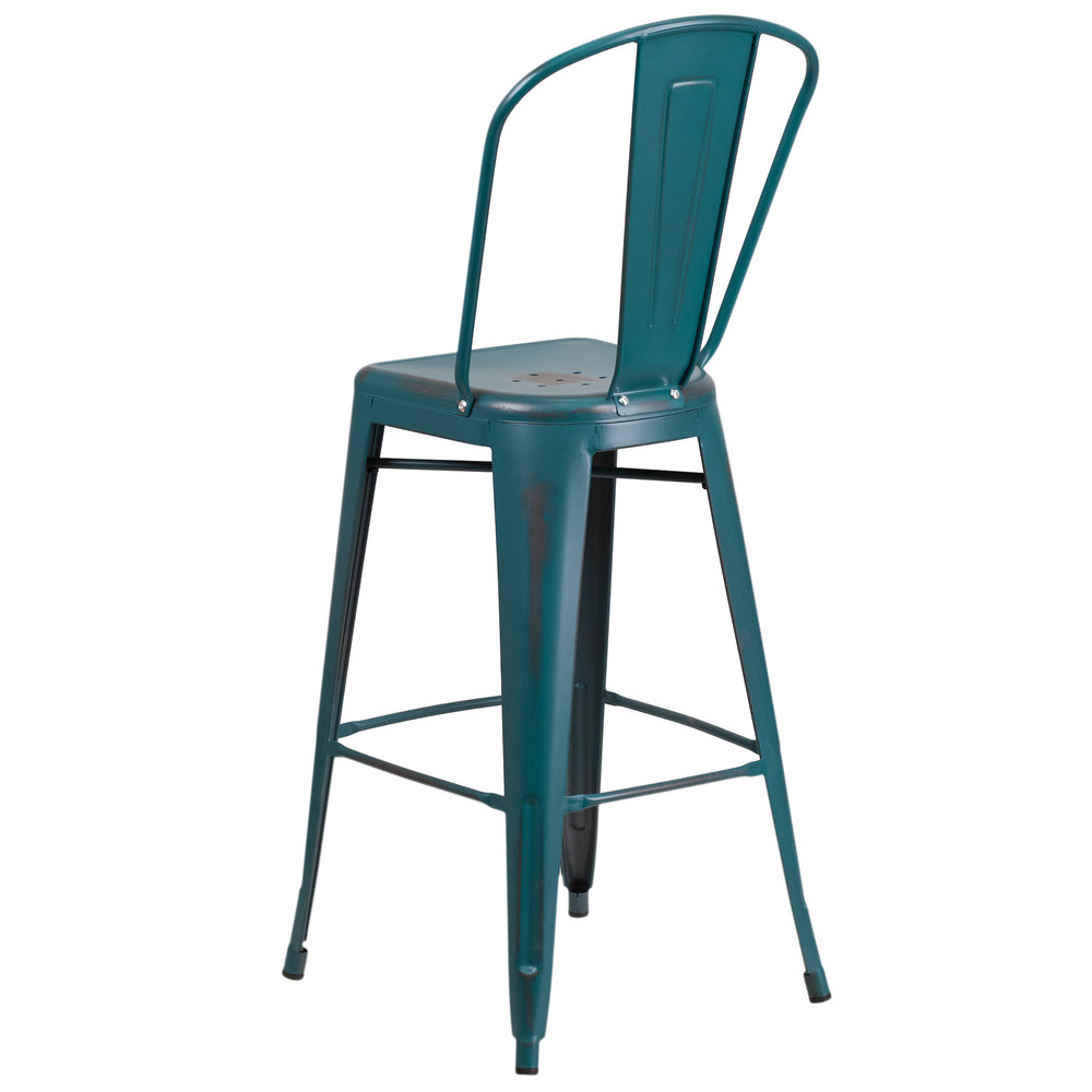 Distressed Kelly Blue Teal Metal Bar Height Stool With