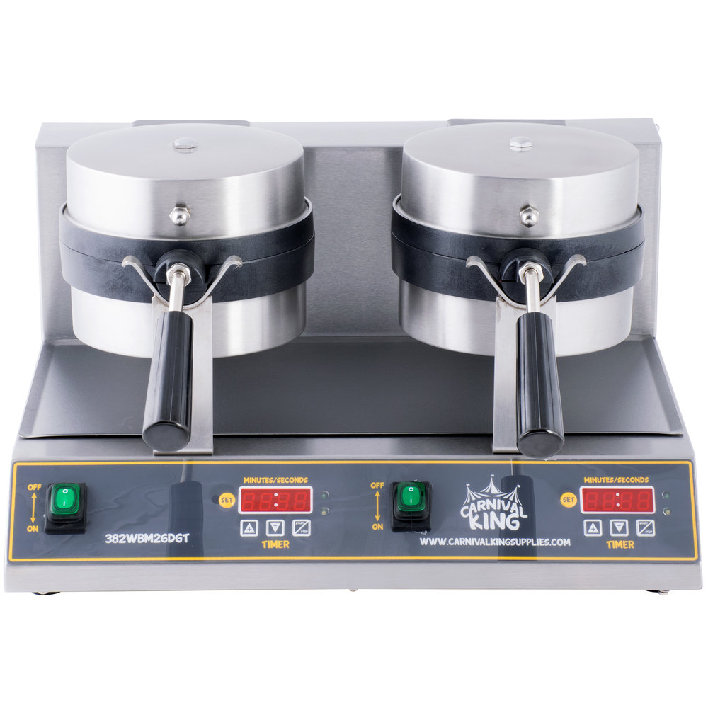 Carnival King WBM26DGT Non-Stick Double Belgian Waffle Maker with Digital Timer and Temperature Controls - 120V
