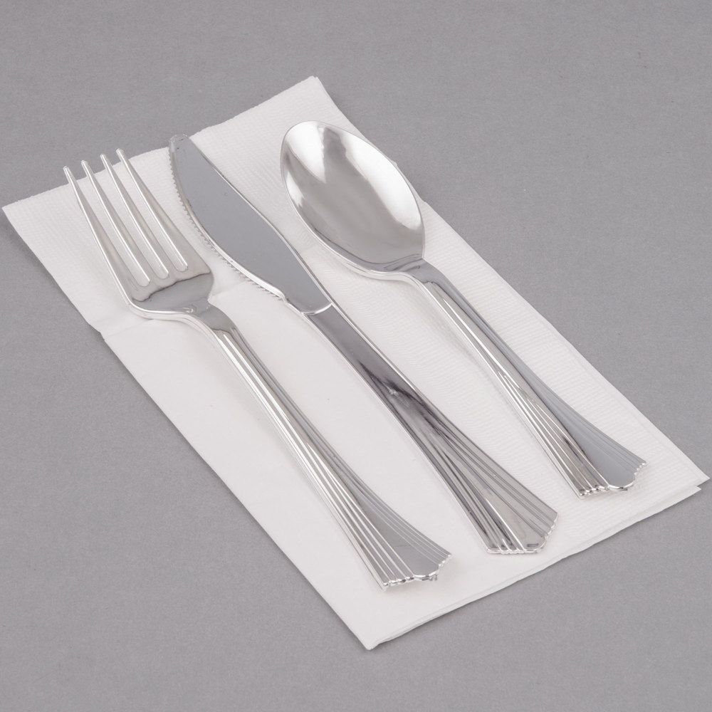 Silver Visions Silver Heavy Weight Plastic Cutlery Set