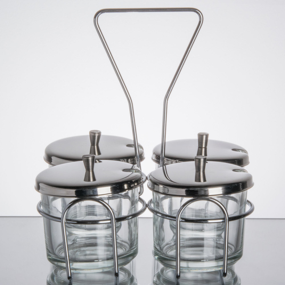 4 Compartment Wire Condiment Caddy With 7 Oz. Glass Jars And Stainless  Steel Lids ...