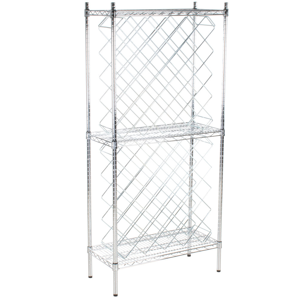 Regency 14 inch x 30 inch Chromate Finish Wire Wine Rack Kit with 64 inch Chrome Stationary Posts and 4 Shelves