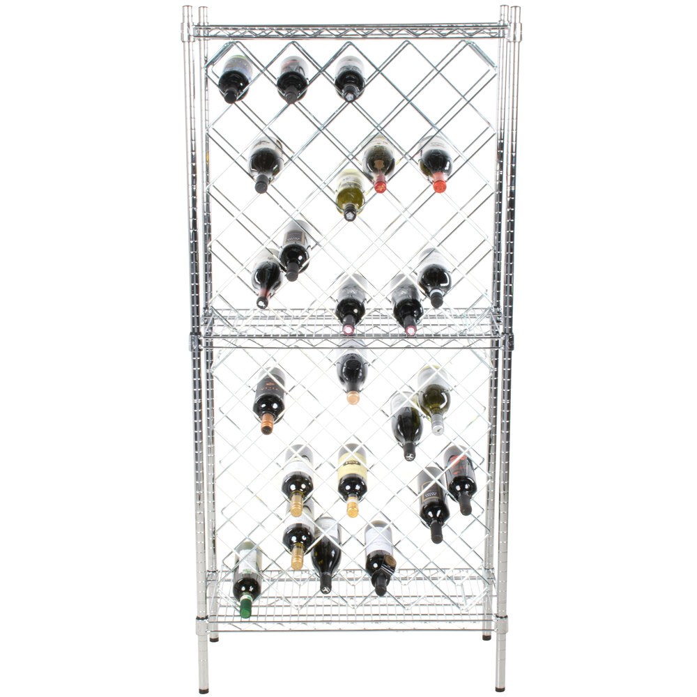 14 u0026quot  x 30 u0026quot  chromate finish wire wine rack kit with 64 u0026quot  chrome stationary posts and 4 shelves