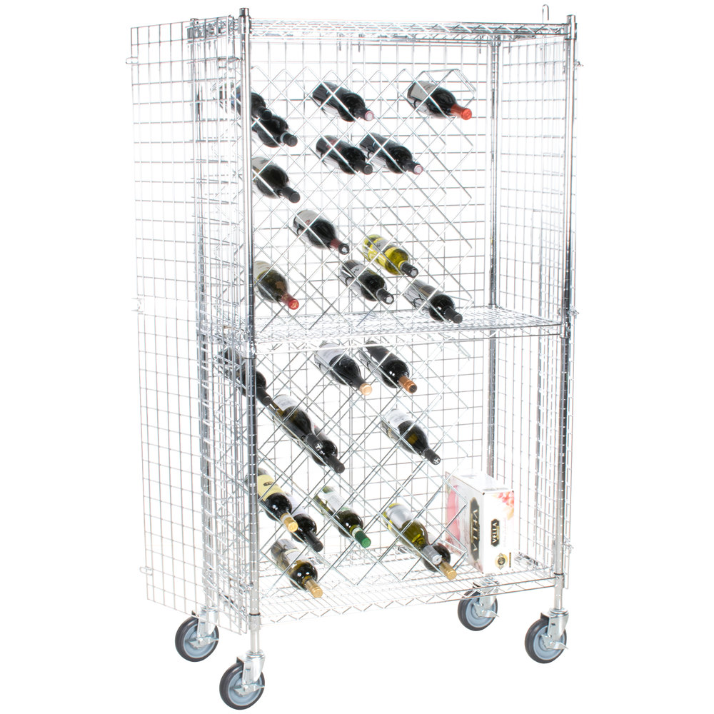 18 Quot X 36 Quot Chromate Finish Mobile Wire Wine Rack Kit With