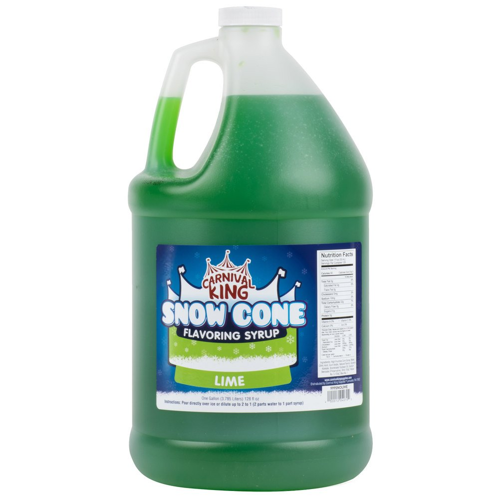 Carnival King 1 Gallon Lime Snow Cone Syrup - 4/Case