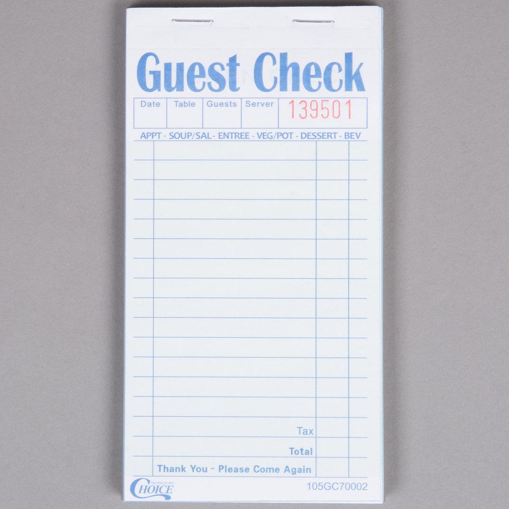 Guest Checks | Restaurant Guest Checks
