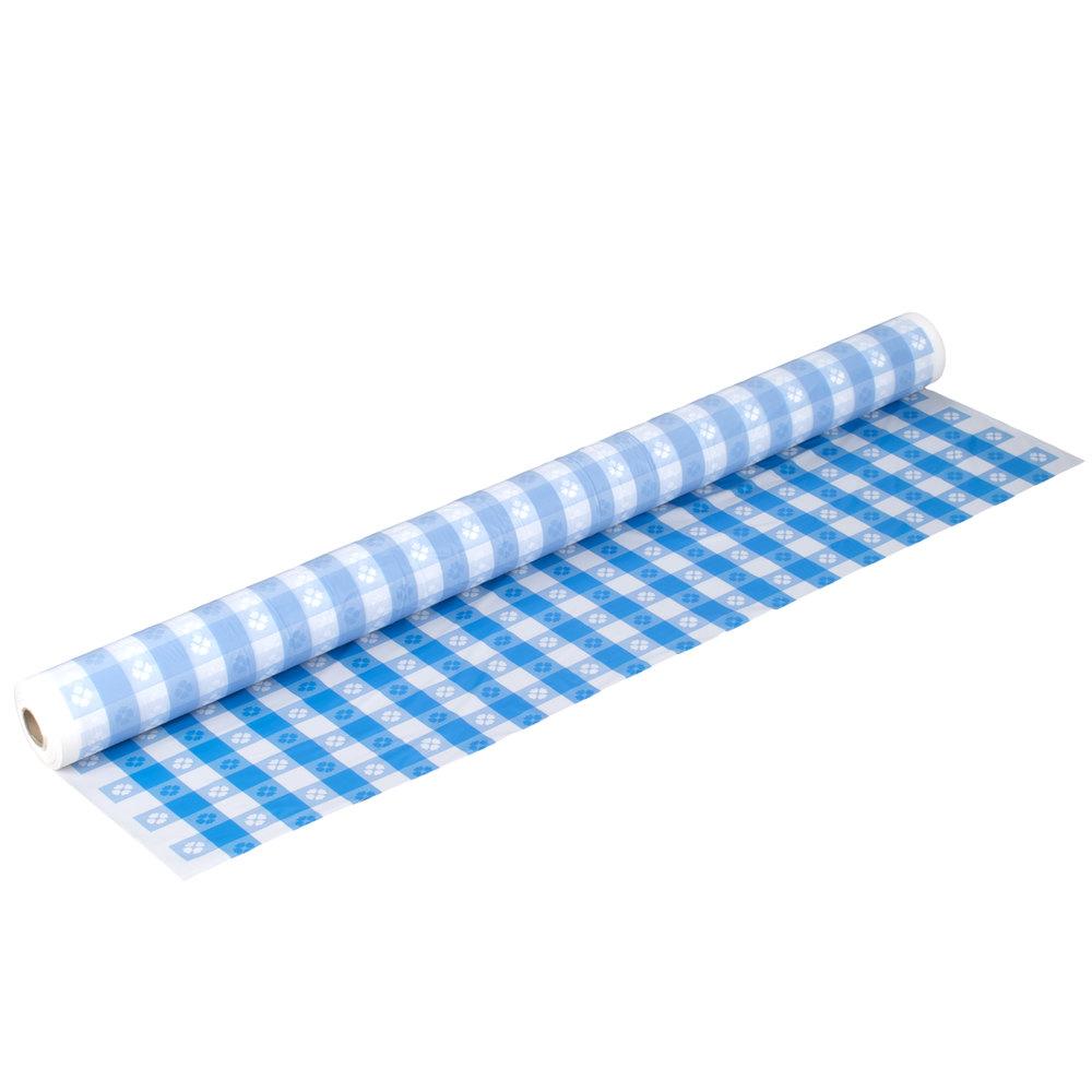 Colors Atlantis Plastics 1503986 300u0027 Blue Gingham Plastic Table Cover ...