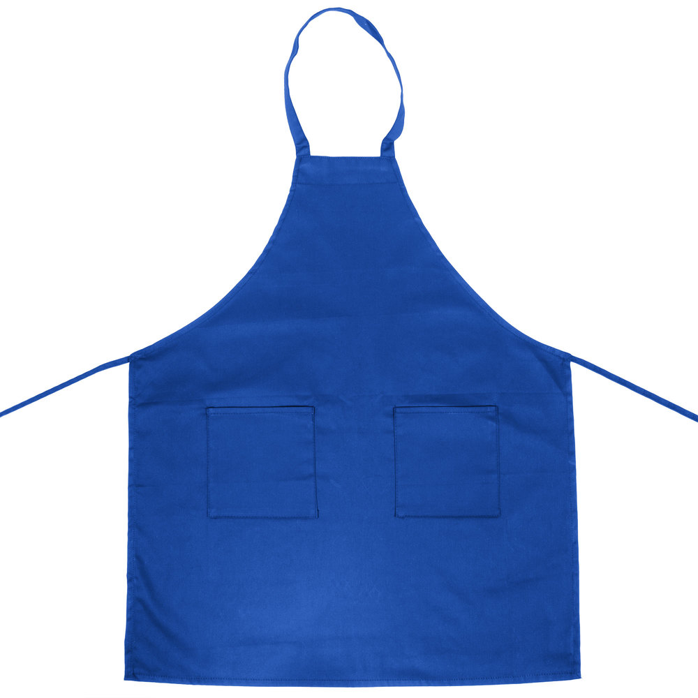 choice royal blue full length bib apron with pockets 34 x 32 w. Black Bedroom Furniture Sets. Home Design Ideas