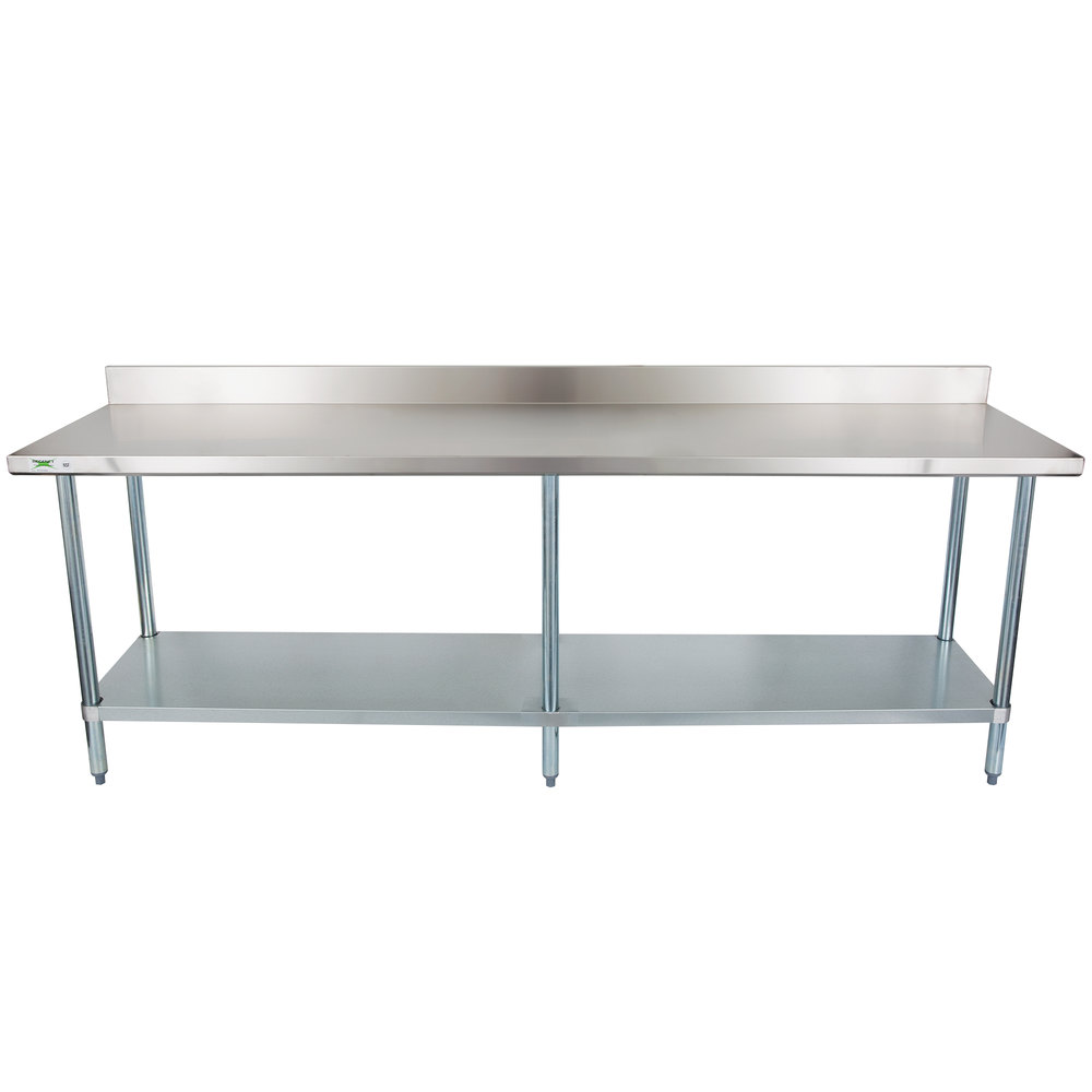 Regency 24 inch x 96 inch 18-Gauge 304 Stainless Steel Commercial Work Table with 4 inch Backsplash and Galvanized Undershelf