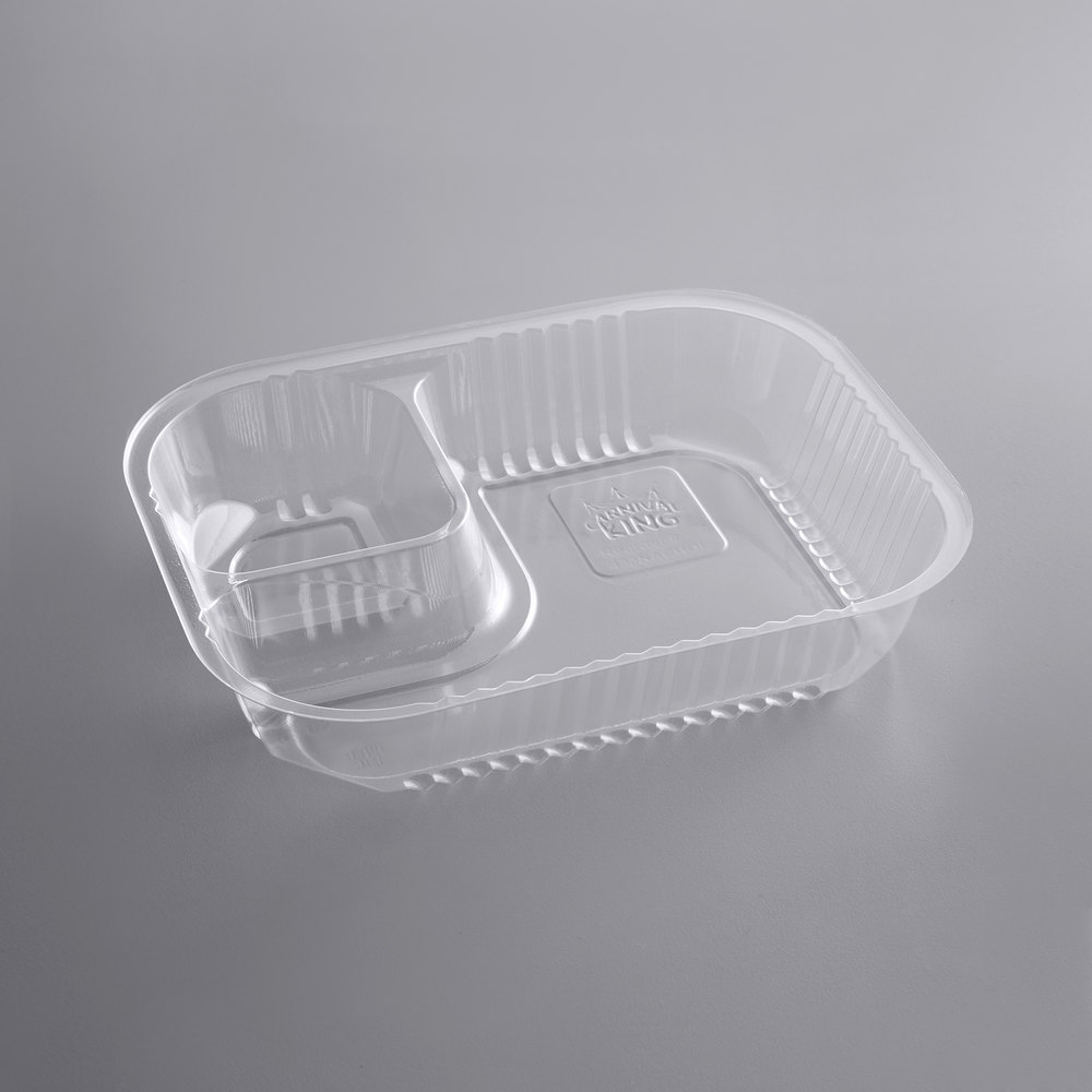 Carnival King Two Compartment Plastic Nacho Tray - 125/Pack