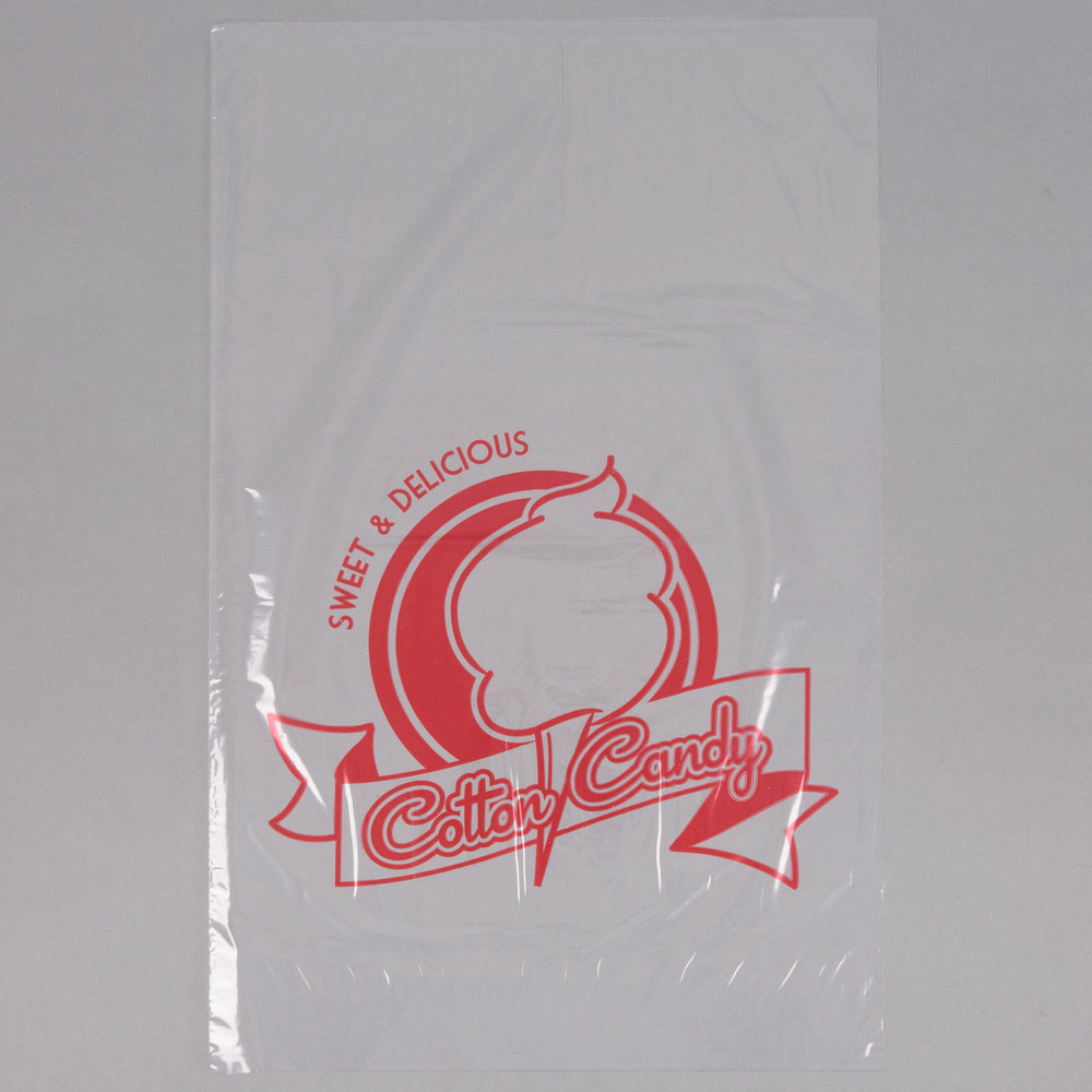 Carnival King 202502504 11 1/2 inch x 18 1/2 inch Printed Quick Pak Cotton Candy Bag  - 100/Pack