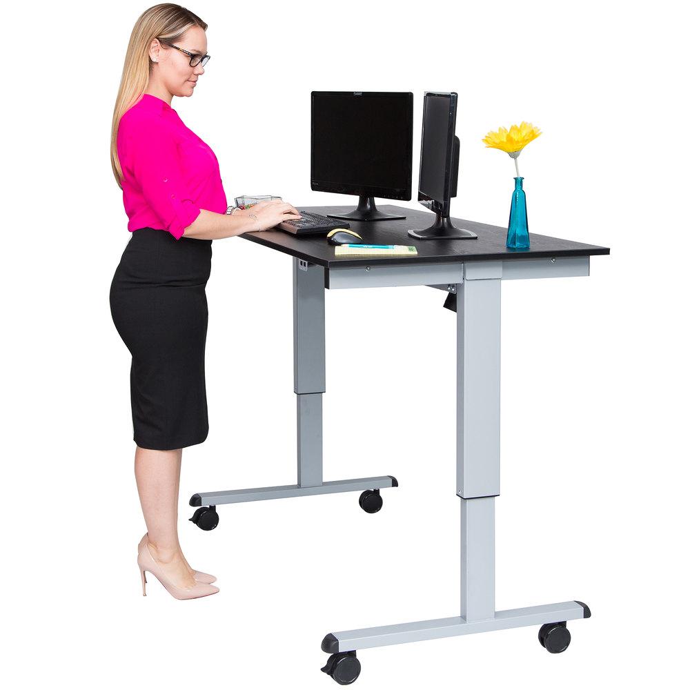 luxor h wilson stande 60 ag bo electric stand up desk with aluminum frame and black desktop 60. Black Bedroom Furniture Sets. Home Design Ideas