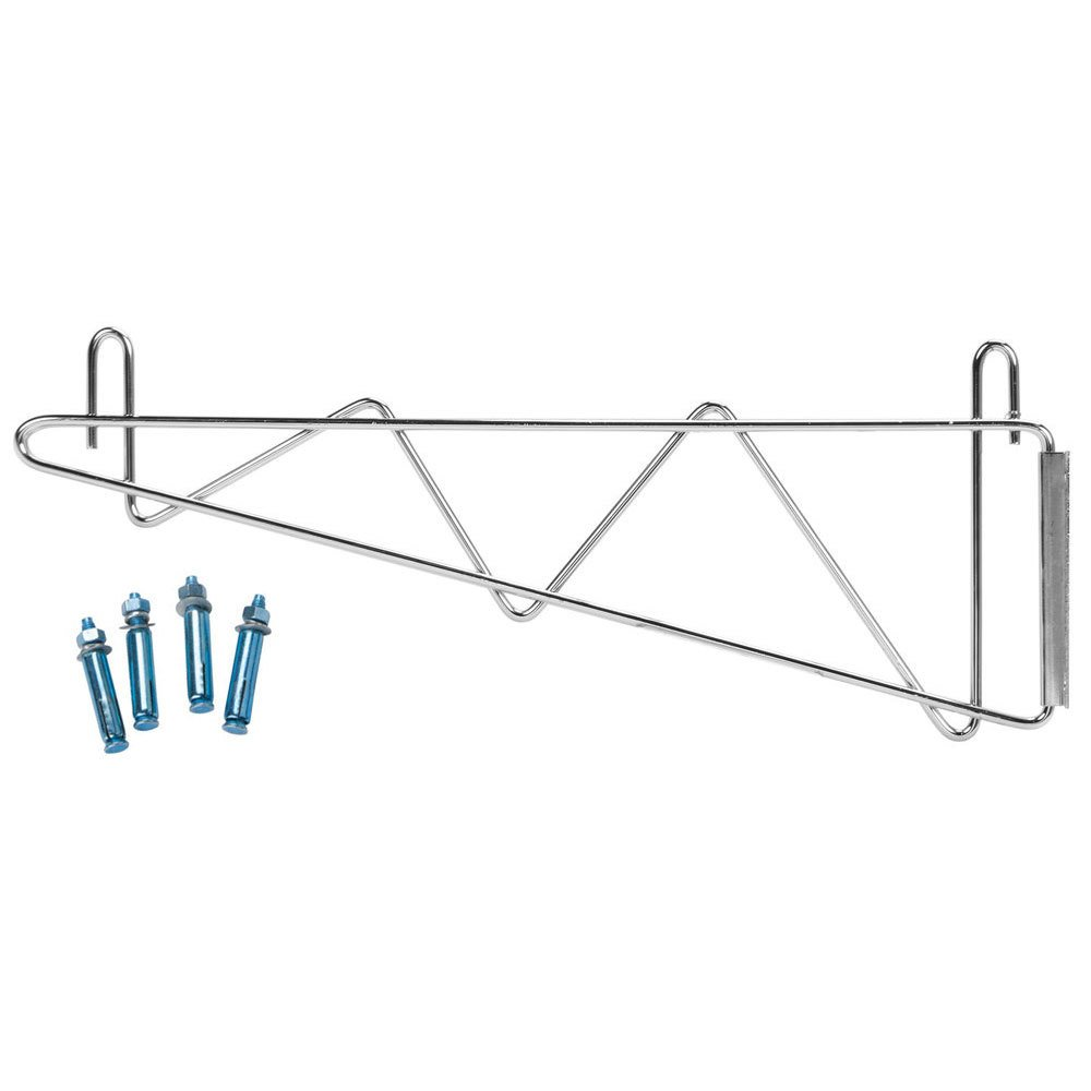 Regency 18 inch Deep Wall Mounting Bracket for Chrome Wire Shelving - 2/Set