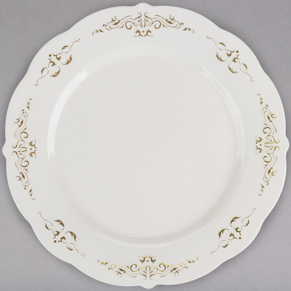 Fineline 5975-BOG Heritage 7 1/2 inch Round Bone / Ivory Plastic Plate ...  sc 1 st  WebstaurantStore : clear plastic plates with gold trim - pezcame.com