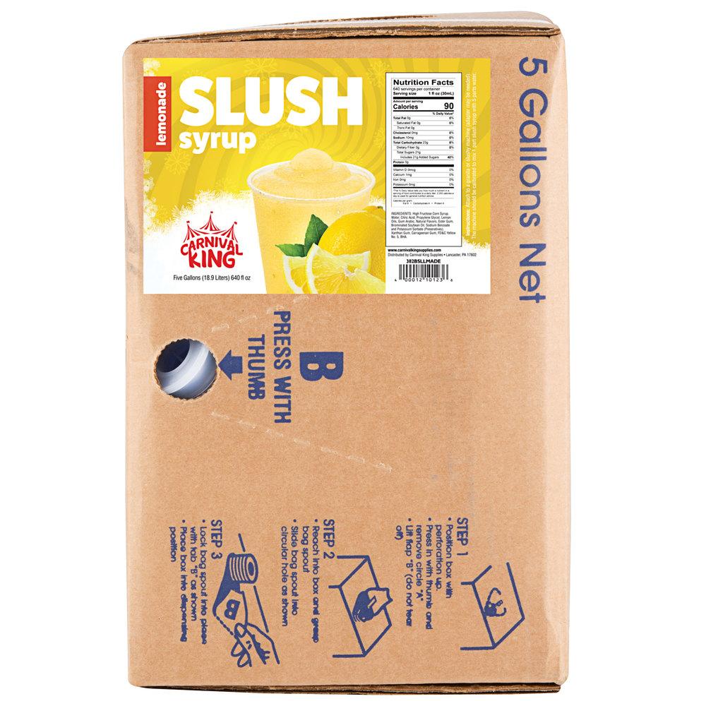 Carnival King 5 Gallon Bag in Box Lemonade Slushy Syrup