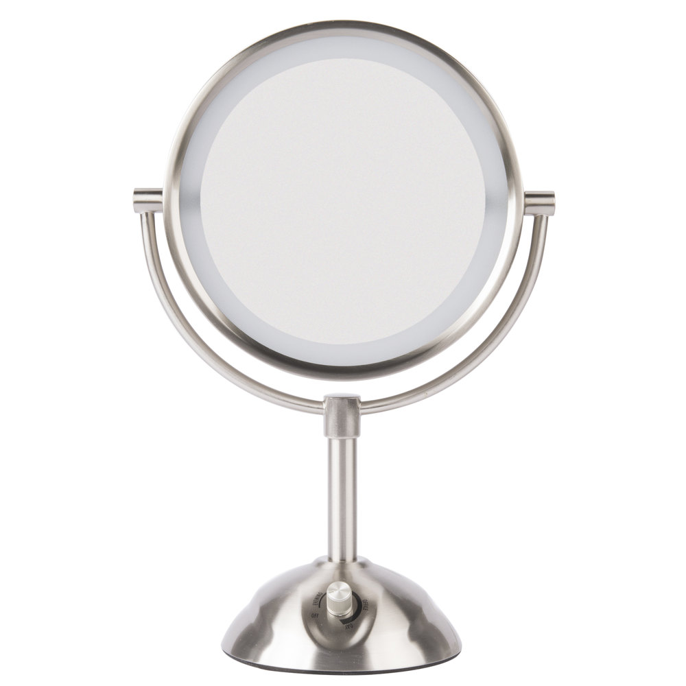 Hotel mirrors hotel vanity mirrors conair be103wh 8 12 inch satin nickel freestanding led lighted vanity mirror with 4 mozeypictures Image collections