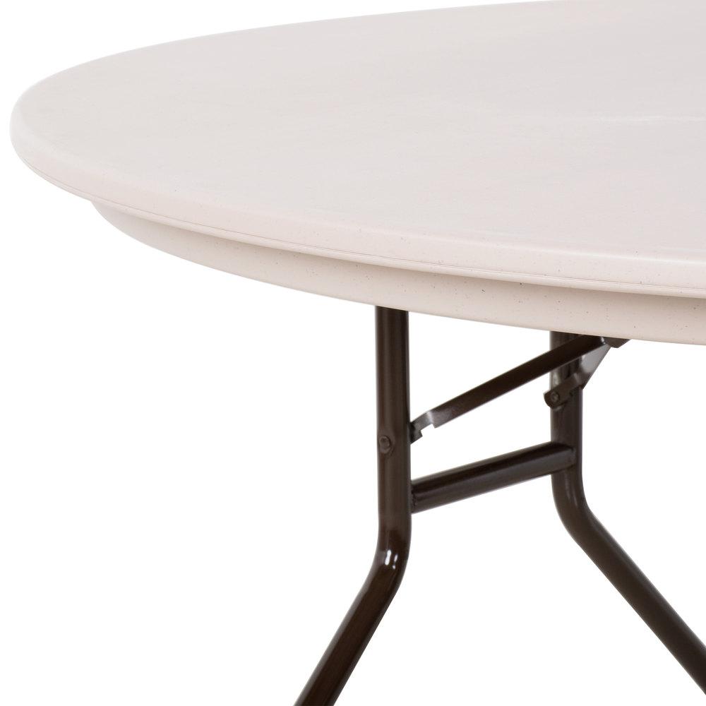 "Correll Round Folding Table 60"" Tamper Resistant Plastic Mocha"