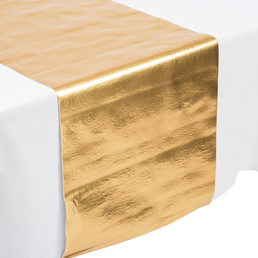 Creative Converting 317334 14 Inch X 84 Inch Metallic Gold Plastic Table  Runner   12/ ...