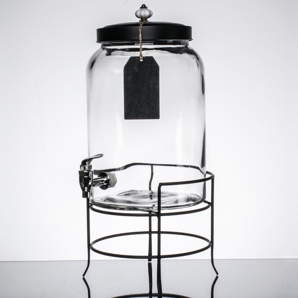 jay imports 3 gallon style setter franklin glass beverage dispenser with metal stand. Black Bedroom Furniture Sets. Home Design Ideas