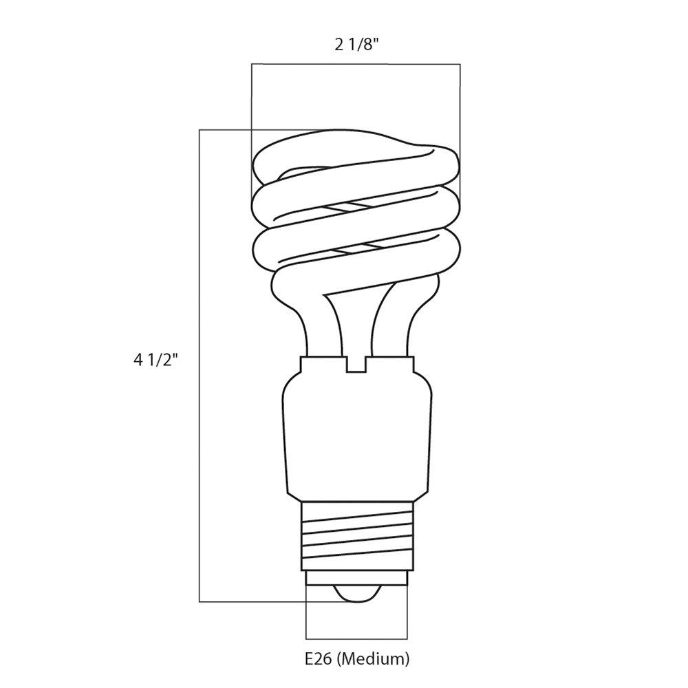 Satco S7224 18 Watt (75 Watt Equivalent) Warm White Mini Spiral ... for Fluorescent Light Bulb Diagram  61obs