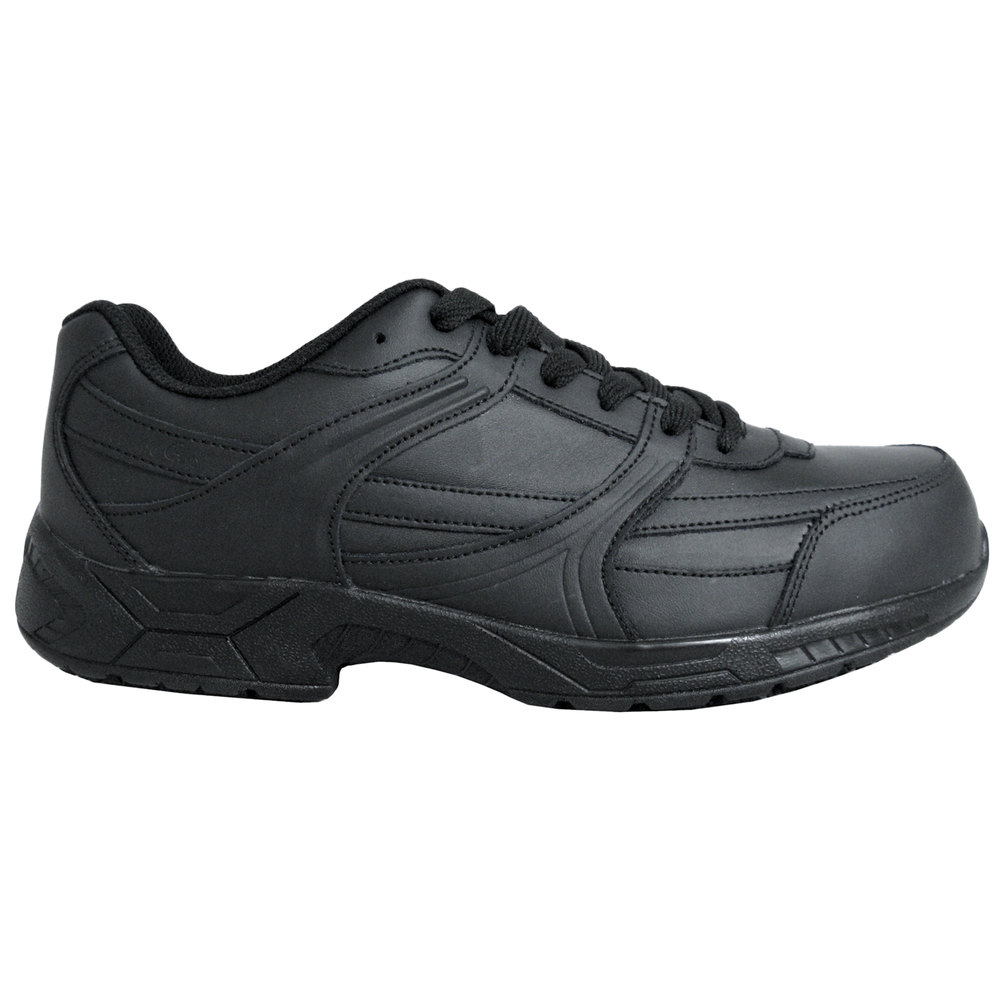Women S Size 11 Wide Width Black Leather Athletic Non Slip Shoe Main Picture Image Preview
