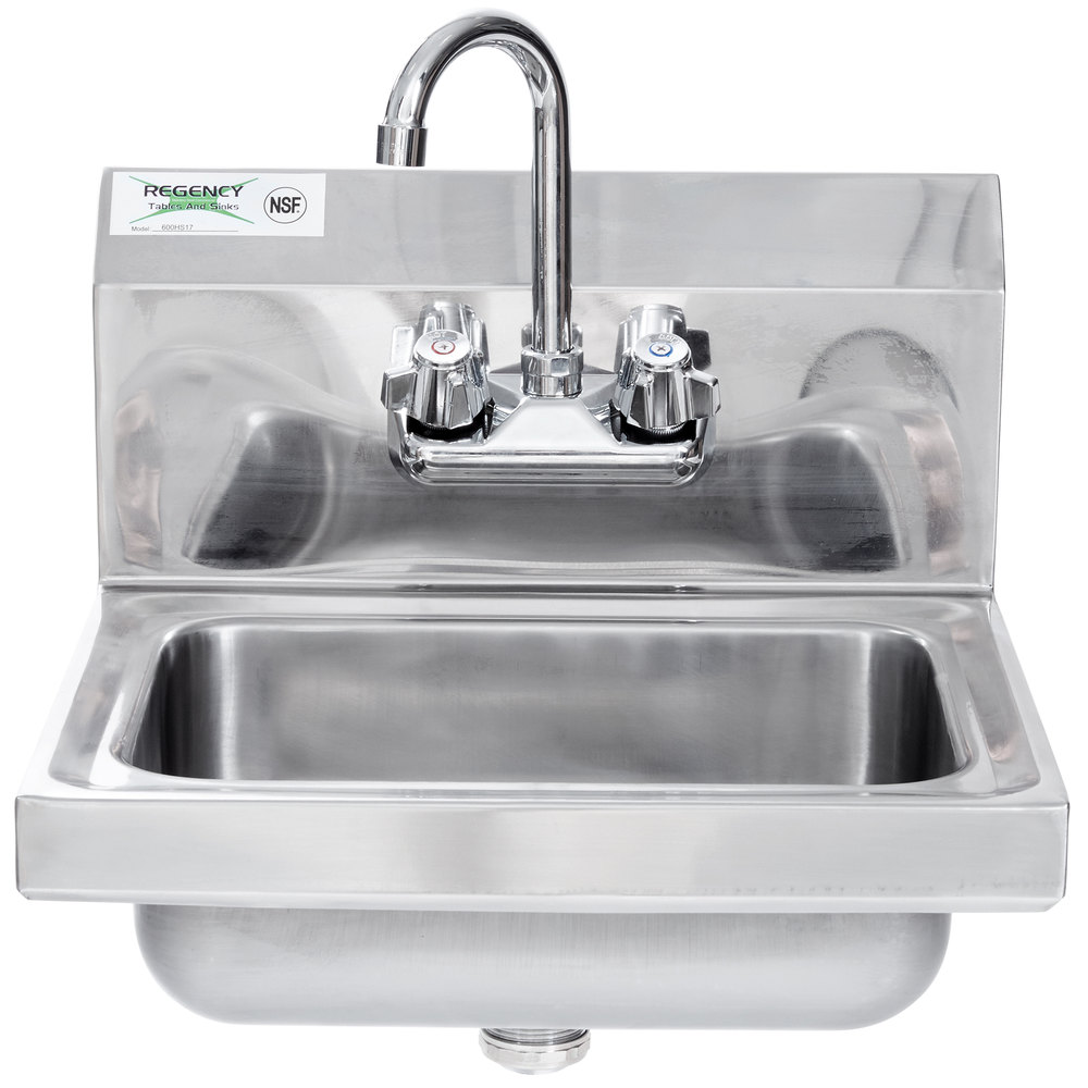 Regency 17 inch x 15 inch Wall Mounted Hand Sink with Gooseneck Faucet