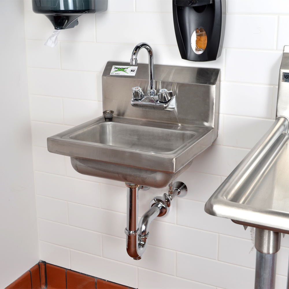 Regency 17 Quot X 15 Quot Wall Mounted Hand Sink With Gooseneck Faucet