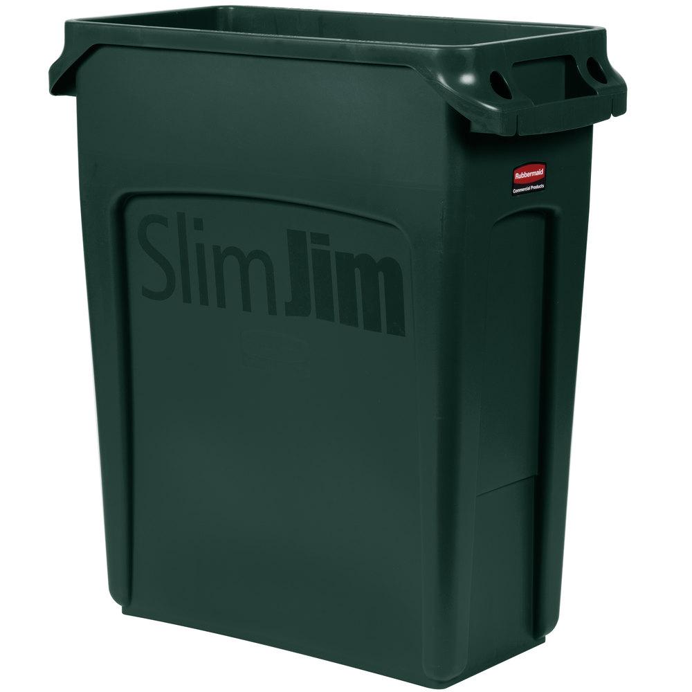 rubbermaid 1955960 slim jim 16 gallon green trash can. Black Bedroom Furniture Sets. Home Design Ideas